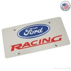 Ford Logo & Racing Name On Polished License Plate