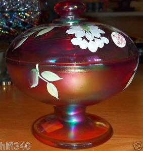 Fenton Hand Painted Carnival glass covered candy dish