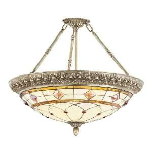 Patina Orpheum Tiffany Four Light Down Lighting Semi Flush Ceiling Fix
