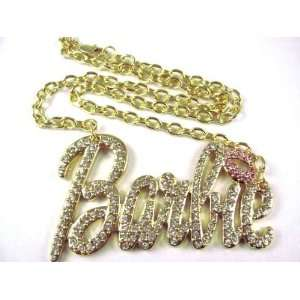 NEW NICKI MINAJ BARBIE Pendant w/18 Chain Gold Lg Clear