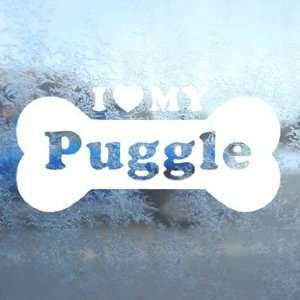 I Love My Puggle White Decal Car Window Laptop White