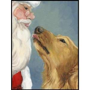 Golden Retriever and Santa Dog Art Postage Stamp