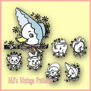 Vintage Animal Faces Embroidery Pattern