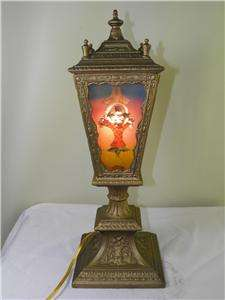 ANTIQUE ART DECO HAND PAINTED METAL REVERSE PAINTED GLASS LANTERN LAMP