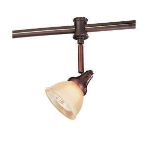 Hampton Bay 120 Volt Flex Track Head Antique Bronze Glass Shade