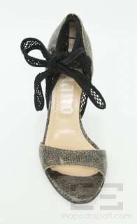 John Galliano Black & Tan Crackled Leather & Black Mesh Ankle Tie