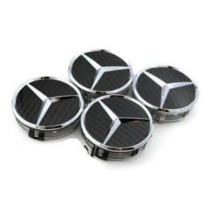 Mercedes Benz Black Carbon Fibre Alloy Wheel Centre Caps Hub Cover
