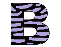 PURPLE ZEBRA ALPHABET LETTER NAME WALL STICKERS DECALS