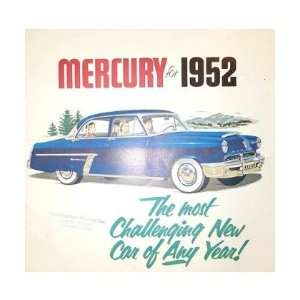 1952 MERCURY Sales Brochure Literature Book Piece