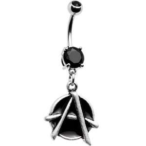 Black Gem Anarchy Dangle Belly Ring Jewelry