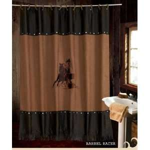 Embroidered Barrel Racing Cowgirl Western Shower Curtain