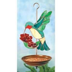 Large Hummingbird 3 D Stained Glass Bird Feeder