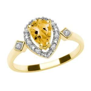 10k Yellow Gold, November Birthstone, Citrine and Diamond Pear Shaped