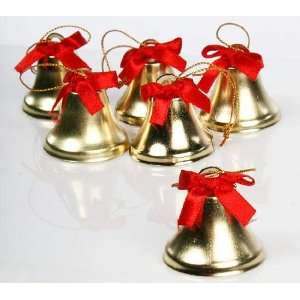 72 Gold Metal Jingle Liberty Bells with Red Satin Ribbon