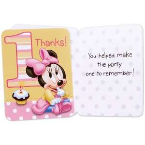 Lets Party By Hallmark Minnies 1st Birthday Thank You Cards (8 count)