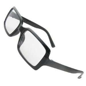 Como Woman Man Plastic Black Full Rim Clear Lens Spectacles Eyewear