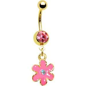 Gold IP Aurora CZ Pink Posy Flower Belly Ring Jewelry