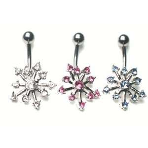 Body jewelry, 316L surgical steel, Flower With Gems Belly