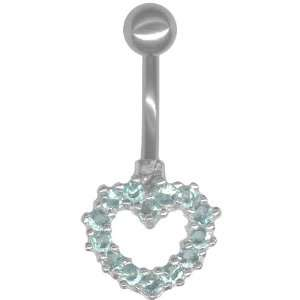 Romance Heart Belly Ring .925 Sterling Silver (AquaColor) 14 gauge
