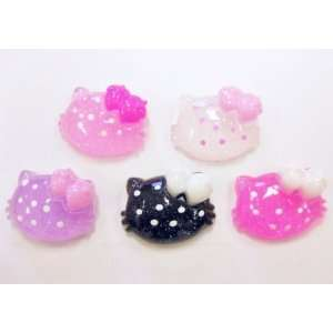 5pc Glitter Kitty Cat Flat Back Resins Cabochons fa67