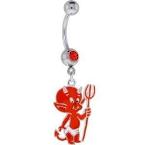 14g Dangling Orange Devil Sexy Belly Button Jewelry Navel Ring Dangle