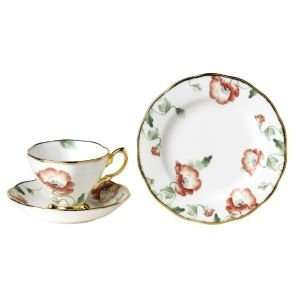 Royal Albert Bone China 1970 Poppy Cup, Saucer, Plate (Set