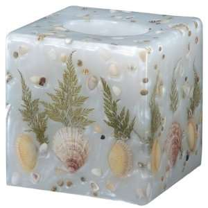 Beautiful real seashell square tissue box in pearl white