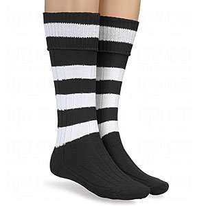 Twin City Mens Hoop Stripe Socks Black/White/Large Sports