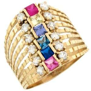 Yellow Gold Diamond Cut Multicolor Stone Unique Ring Jewelry Jewelry