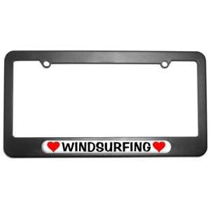 Windsurfing Love with Hearts License Plate Tag Frame