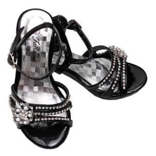 Fabulous Toddler Girl Black Jeweled Dress Heel Open Toe