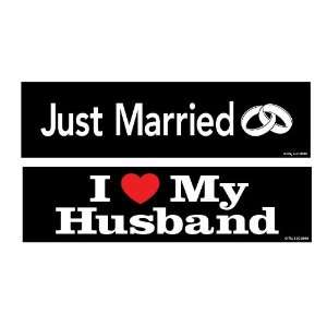 Two In Love 2 Pack Just Married/I Love My Husband Car Decal Bumper