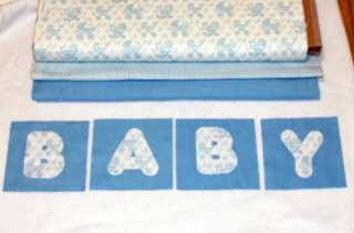 baby original rag quilt kit blue baby carriage applique 84 6 squares