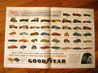 1958 Goodyear Ad Buick Dodge Chrysler Ford Chevy Autos