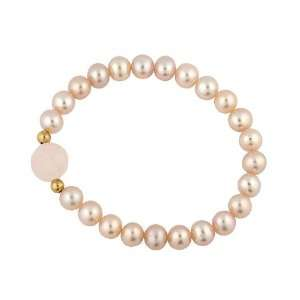 Jewels 14k Gold Pink Pearl and Crystal Baby Bracelet (6 mm) Jewelry