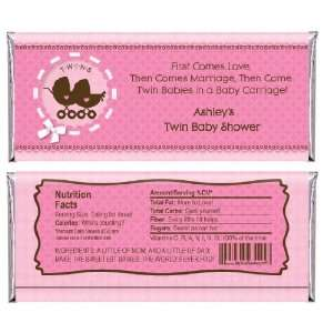 Twin Girl Baby Carriages   Personalized Candy Bar Wrapper Baby Shower