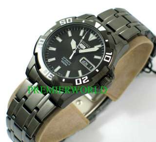 SEIKO SPORT AUTOMATIC BLACK GUN METAL 100M WATCH SNZJ41