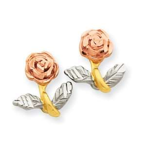 14k Gold Tri color Satin & Diamond Cut Rose Post Earrings Jewelry
